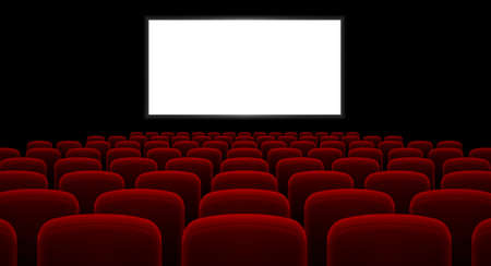 cinema screen: Cinema hall with white screen and red row chairs Illustration