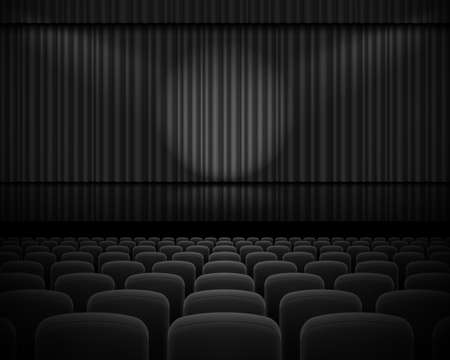 curtain: Black curtain from the theatre with a spotlight and row chairs
