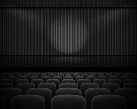 sipario chiuso: Tenda nera dal teatro con un faretto e fila sedie