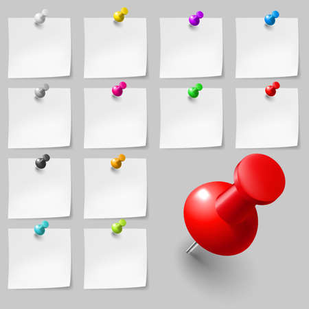 Set of Blank sticky notes with pushpins on gray background
