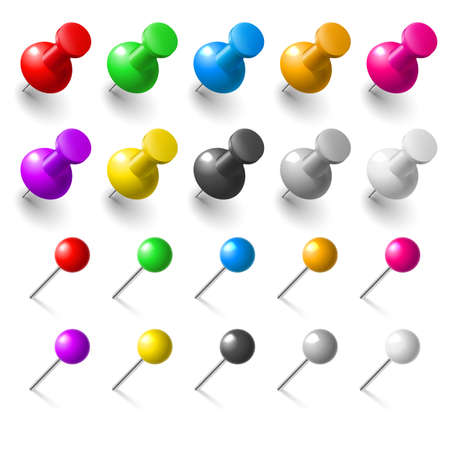 Set of pushpins on white background for design