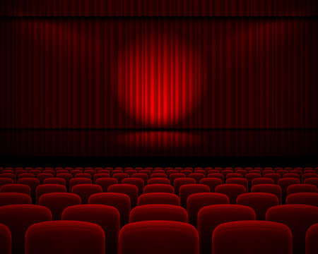Red curtain from the theatre with a spotlight and row chairs Ilustração