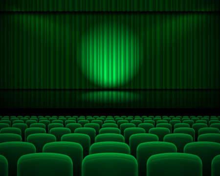 Groen gordijn van het theater met een spotlight en rij stoelen