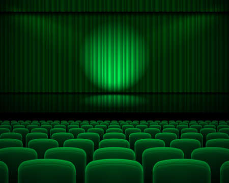 Green curtain from the theatre with a spotlight and row chairs