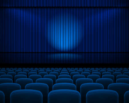 curtain theatre: Blue curtain from the theatre with a spotlight and row chairs