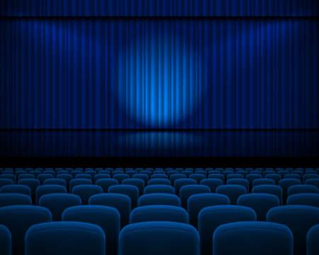 teatro: Cortina azul del teatro con un proyector y fila sillas Foto de archivo