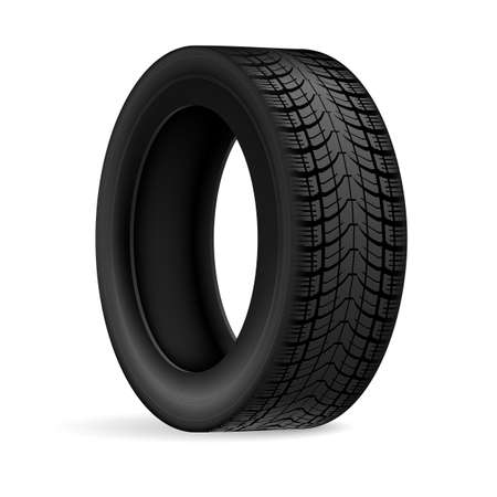 the protector: Black rubber car wheel against white background with protector