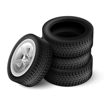 four texture: Closeup of four tires with racing rim and black texture Illustration