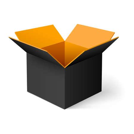objetos cuadrados: Negro abrió caja cuadrada con naranja en el interior Vectores