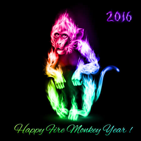 monkey face: Fire Monkey in spectrum colors. New Years Banner design on black
