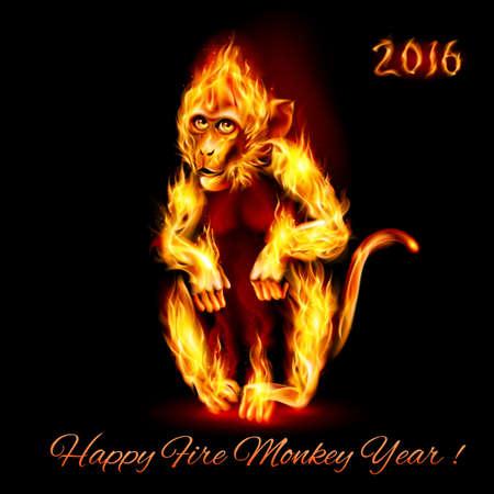 赤い火猿の年。黒の背景上のグリーティング カード