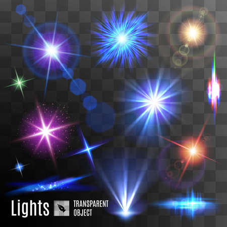 beam: Set of lens flares beams and flashes on transparent background Illustration