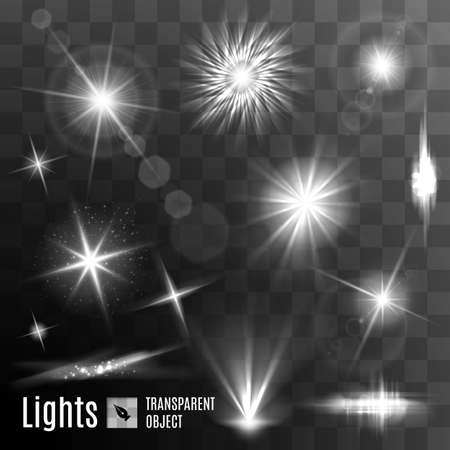 light beams: Set of black and white lens flares beams and flashes on transparent background
