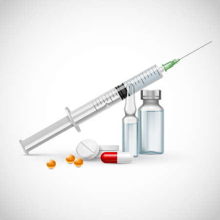 medical syringe: Medical syringe with medicine pill and vials