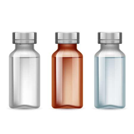 inyeccion intramuscular: Conjunto de pequeña oscura botella médica y la luz