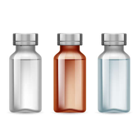 medicine icons: Set of small medical bottle dark and light