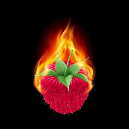raspberry: Burning raspberry isolated on a black background