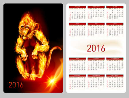 flamy: Calendar 2016 with beautiful fire monkey image