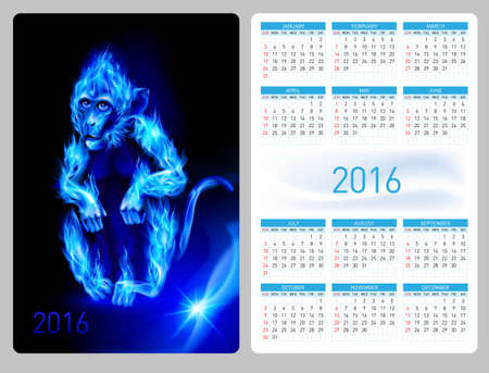 flamy: Calendar 2016 with beautiful blue fire monkey image