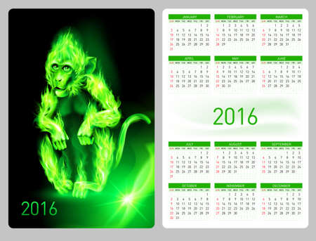 flamy: Calendar 2016 with beautiful green fire monkey image Illustration