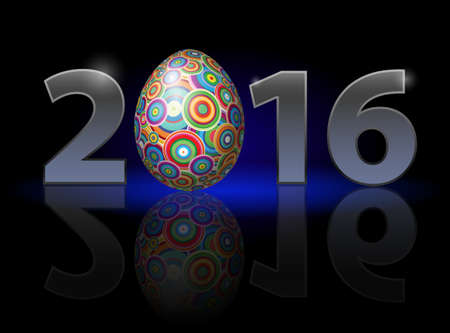 weak: Easter holiday in 2016: metal numerals with colorful egg instead of zero having weak reflection