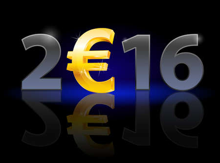 instead: New Year 2016: metal numerals with euro instead of zero having weak reflection Illustration