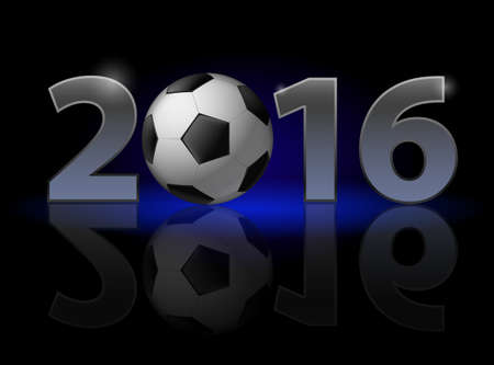 weak: New Year 2016: metal numerals with football instead of zero having weak reflection Illustration