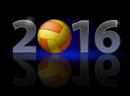 pelota de voleibol: A�o Nuevo 2016: n�meros de metal con el voleibol en lugar de cero que tienen d�bil reflexi�n