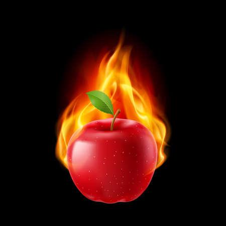 manzana roja: manzana roja en el fuego. Ilustración sobre fondo negro