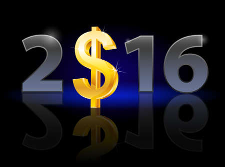instead: New Year 2016: metal numerals with USA dollar instead of zero having weak reflection