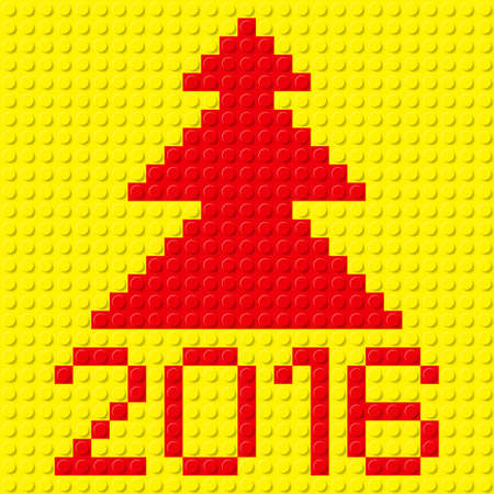 tree texture: New Year tree and 2016 in plastic construction kit texture.