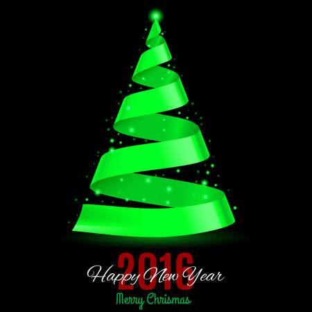 green ribbon: Green ribbon Christmas tree on black background. Greeting card Twenty-Sixteen Illustration