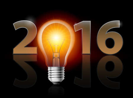 weak: New Year 2016: metal numerals with electric bulb instead of zero having weak reflection