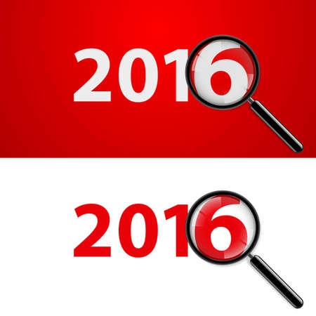 magnifying: Numerals 2016 with magnifying glass in white and red