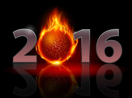 instead: New Year 2016: metal numerals with fire ball instead of zero having weak reflection Illustration