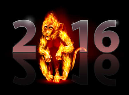 monos: Año del Mono de Fuego Rojo. Tarjeta de felicitación en el fondo negro de diseño
