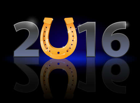 weak: New Year 2016: metal numerals with golden horseshoe instead of zero having weak reflection Illustration