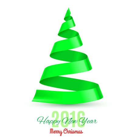 green ribbon: Green ribbon Christmas tree on white background. Greeting card Twenty-Sixteen