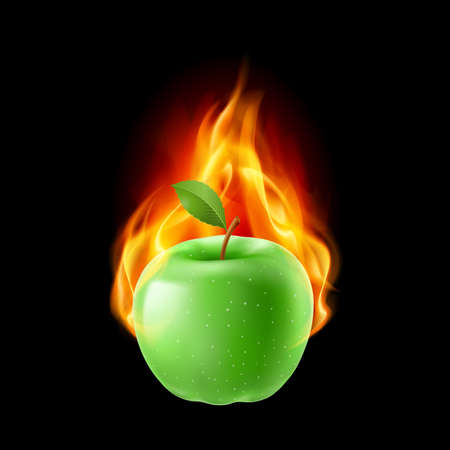 fiery: Green apple in the fire. Illustration on black background for design