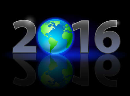 weak: New Year 2016: metal numerals with Earth instead of zero having weak reflection
