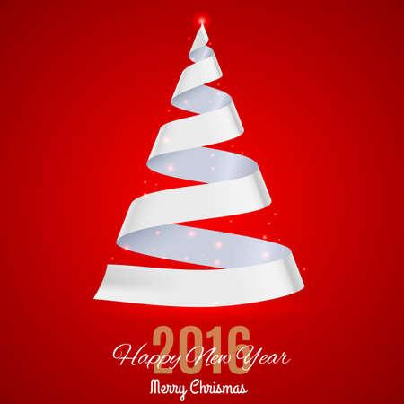 ruban blanc: Ruban blanc arbre de No�l sur fond rouge. Carte de voeux Vingt-Seize Illustration