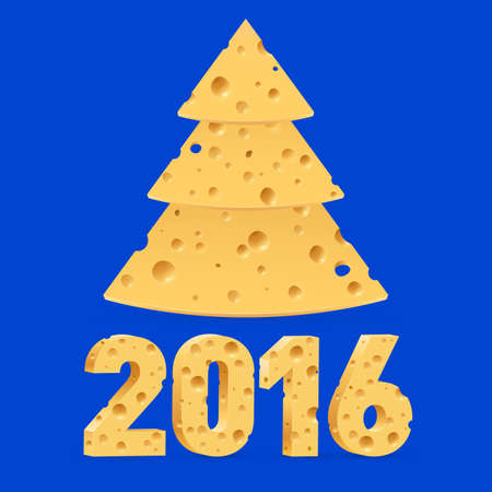 blue cheese: Cheese New Year tree and 2016 on blue background