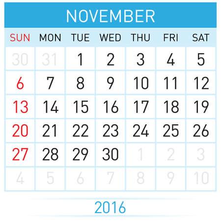 months: November Twenty-Sixteen. Calendar Month. Illustration on white background Illustration