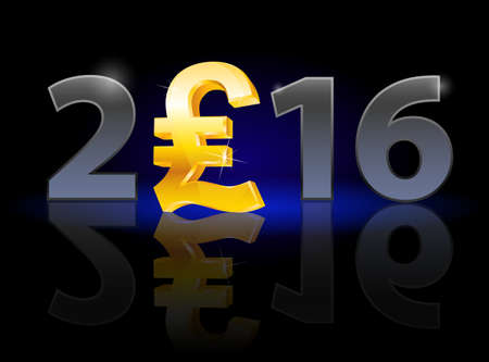 instead: New Year 2016: metal numerals with english pound instead of zero having weak reflection