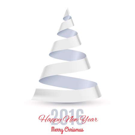 ruban blanc: Ruban blanc arbre de No�l sur fond blanc. Carte de voeux Vingt-Seize