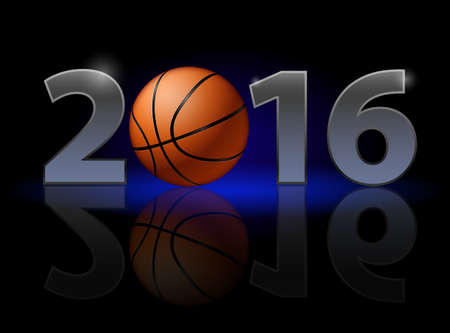 weak: New Year Twenty-Sixteen: metal numerals with basketball instead of zero having weak reflection