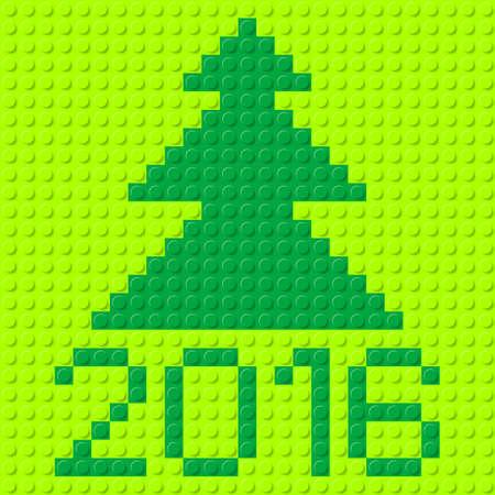 tree texture: New Year tree and Twenty-Sixteen in plastic construction kit texture