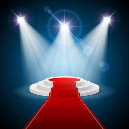 Ronde stapte podium met rood tapijt en verlichte schijnwerpers