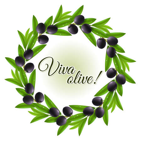 wet leaf: Round wreath of wet leaves and black olives with copy space Illustration