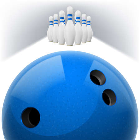 skittles: Blue Bowling ball with holes in front. White skittles with red stripes on a white background
